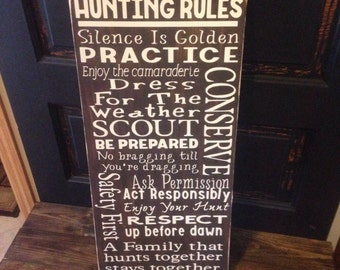 Deer Hunting Rules, wooden sign