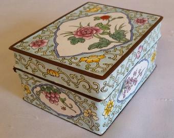 Floral Enamel Trinket Jewelry Box