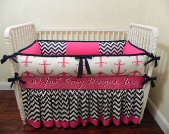 Custom Nautical Baby Bedding Set Catalina -  Girl Baby Bedding, Hot Pink Anchors, Navy and Pink Crib Bedding