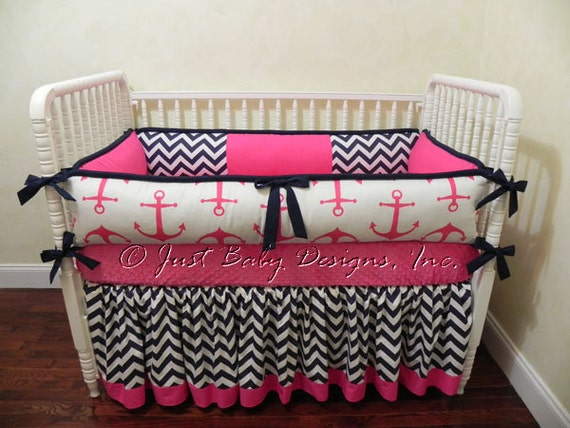 Girl baby bedding hot pink anchors navy and pink crib bedding