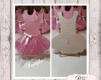 12 Ballerina Invitations, Tutu Invitation, Ballerina Tutu Invitation, Tutu Birthday Invitation, Pink and Gold Tutu Invitation
