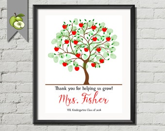 Teacher appreciation Week, Customized Fingerprint apple tree any font, any quote any colour. Fully personalised digital image printable tree