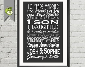 Wedding Gifts For 10 Year Anniversary : 10 year anniversary Etsy