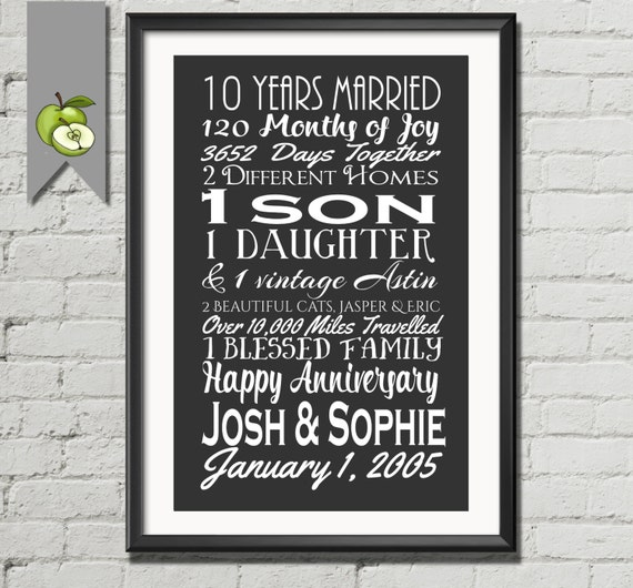10th anniversary gift, tenth anniversary gift, wife, husband, Subway I ...