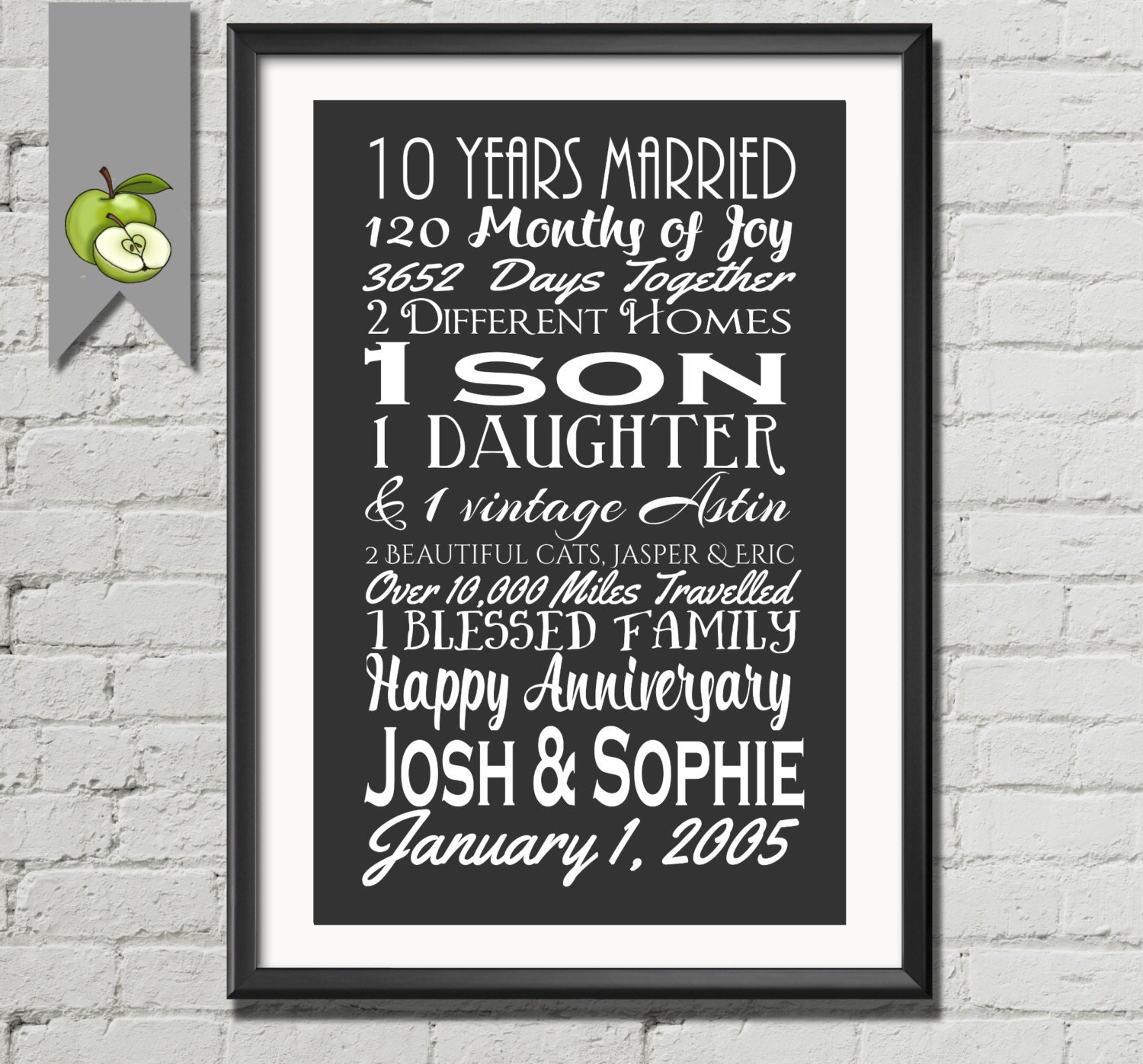 10th Anniversary Gift Tenth Anniversary Gift Wife Husband