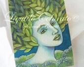 Fantasy Art, Green Fairy - Original Watercolor Painting -  ACEO -OOAK