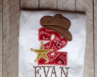 Cowboy Birthday applique shirt-boys birthday applique shirt--sheriff birthday shirt- western birthday shirt-Bandana Cowboy birthday shirt
