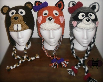 Woodland Animal Earflap Hats - PDF crochet PATTERN ONLY - Baby, Child, Adult, Fox, Raccoon, Beaver, Skunk