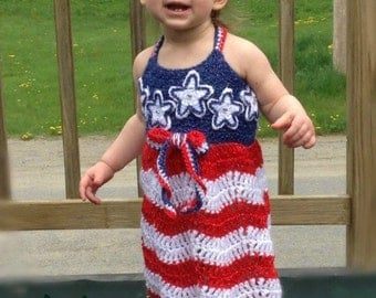 Uncle Sam's Girl Sundress - PDF crochet pattern - Summer, Fourth of July, dress, Girls, Patriotic, Americana, American Flag