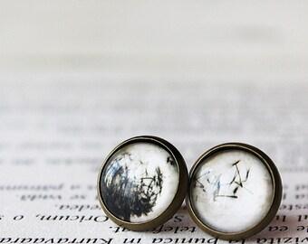 Dandelion Earrings - Floral Stud earrings - Dandelion Blow Earrings - Dandelion seeds Earrings