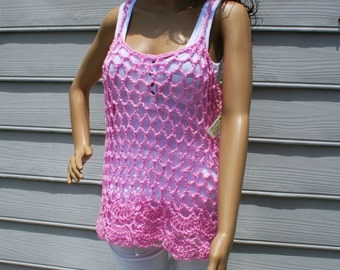 Bubble Gum Pink Crocheted Tank Top for Fun in the Sun.  Size Medium-Large