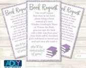 Purple Girl Book Request Baby Shower Printable DIY Tickets, Book instead of card, It's a Purple, Bokeh-ao125bs0