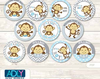 Boy Monkey Cupcake Toppers for Baby Shower Printable DIY, favor tags, circles, It's a Boy, Chevron- ao119bs0