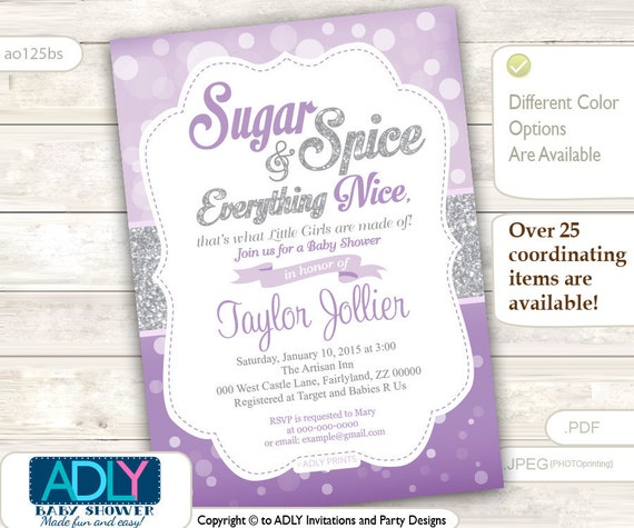 Product search sugar spice catch my party sugar spice and everything nice that little girls are made of invitation for baby shower bokeh purplesilver glitter grey ao125bs filmwisefo Choice Image