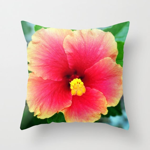 Red Hibiscus Decorative Pillow : Items similar to Yellow Pink Hibiscus - Throw Pillow Cover, Beach Tropical Bohemian Hippie Chic ...