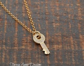 Tiny Key Necklace in Gold Vermeil, Long Necklace, Gold Plated Sterling Silver, Cubic Zirconia