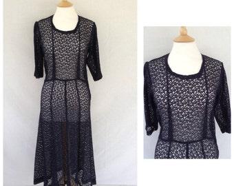 1930s Navy Blue Lace Dress, Wedding , Formal, Tea Dance, UK size 10, US size 8.
