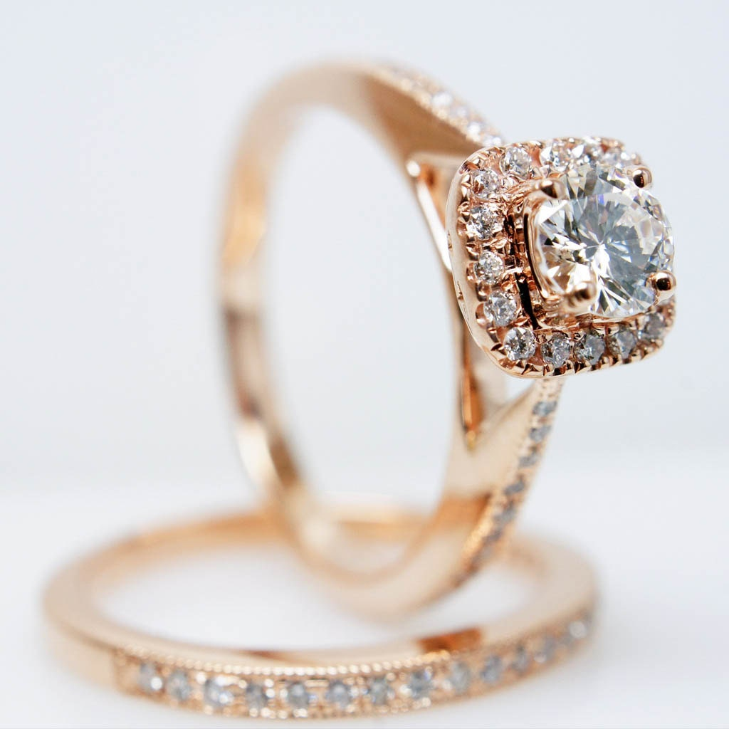 14k rose gold solitaire square halo wedding set zoom