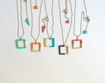 Geometric Necklace, Wood  Necklace,Geometric Jewelry