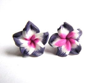 Tropical  Flower Earrings, Purple and Pink Plumeria Jewelry Hawaiian Flower Stud Earring