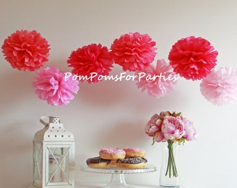 12 (2XL/2L/4M/4S) mixed sizes Tissue Paper Pom poms - Pompoms - Hanging poms - Paper flower - Tissue paper balls - Tissue paper pom poms