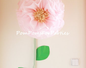Giant bloom. Oversized paper flower. Luxury wall decor. Reception decoration. Blossom display. Boho wedding. Centerpiece. Baby shower. Pink.