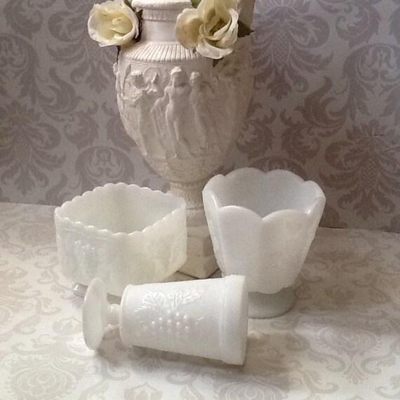 Vintage Milk Glass Vase Collection Grapevine Pattern Raised