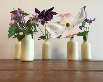50 Coated Vases Rubber Coated Glass Jars Golden Cream Group for Centerpieces Use for Favors Lot of 50