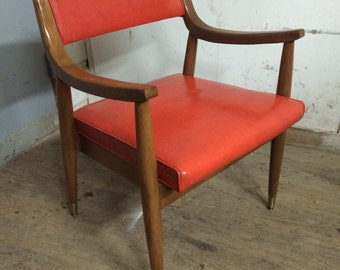 Mid Century Modern Red Sloped Walnut Arm Chair
