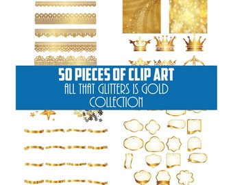 All That Glitters is Gold - Clip Art Collection - 50 PNG Files for Scrapbooking - Parties - Craft Projects