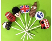 21 Cake Pops for London, England, British party favor, UK wedding - Big Ben, royal crown guard, phone box, taxi, double decker bus, flag