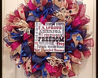 Americana Patriotic 4th of July Deco Mesh Wreath with Sign/Americana Wreath/4th Of July Wreath/Labor Day Wreath/Memorial Day Wreath