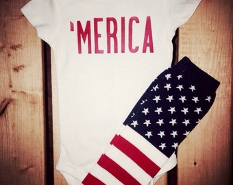 American 'MERICA bodysuit and matching Stars and Stripes leg warmers. Perfect for July 4th!!