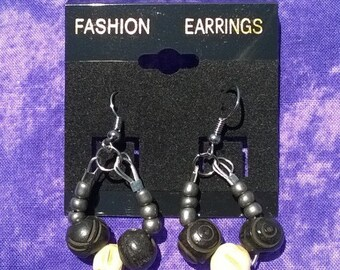 wood bead earings