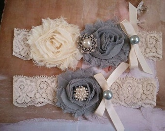 Bridal Garter, Wedding Garter and Toss Garter - Silver/Gray and Ivory with Pearl & Rhinestone - Style G2014