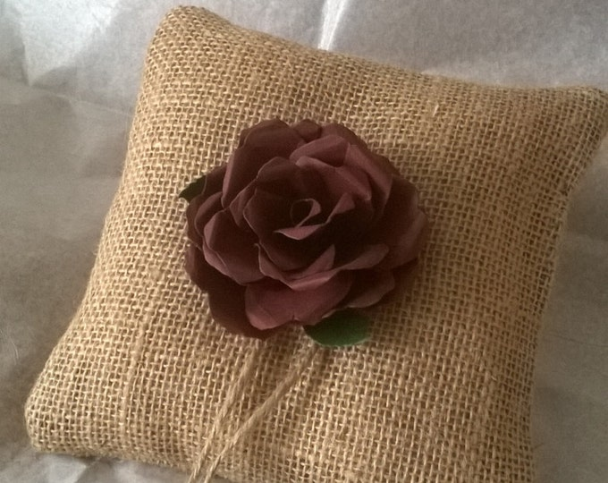 Burlap Ring Bearer Pillow with Brown Rose, Ring Cushion, Made to order