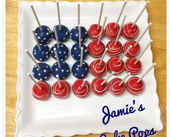 Red, white, and blue flag cake pops