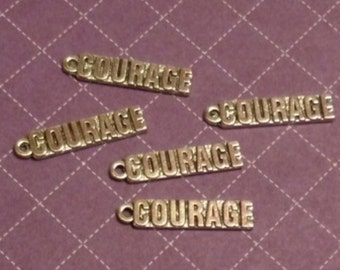 5 Pcs - Courage Pendant Charms - 12 Step Recovery NA AA
