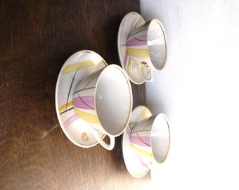 Porcelain Cups with Saucers, Mid Century Modern Tea or Coffee set of 3, Kitchen decor, Rigas Porcelain Factory, Soviet era, Made in USSR
