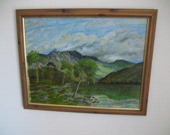 Large Vintage Signed Framed Original Oil Painting, Landscape, F McHugh, Ready to Hang