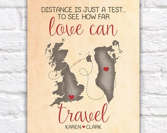Gift for Boyfriend, Fiance, Husband Long Distance Relationship Art, Distance is just a Test, Love Established, Travel, Bahrain, UK, World