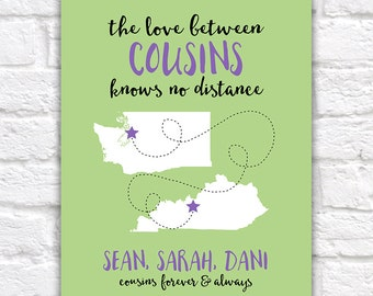 Gift for Cousins, Long Distance Family, Cousin Quotes, Personalized Art, Distant Relatives, Customizable Gifts, Cousin Moving Friendship