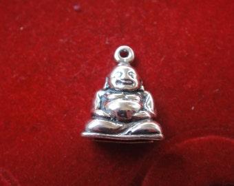 925 sterling silver oxidized buddha charm, silver buddha, yoga finding