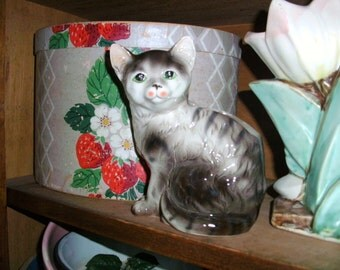 Vintage Glass Cat Planter Statue