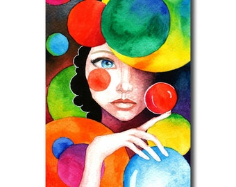 Postcard of whimsical girl amongst colourful circles