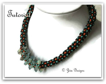 Beadweaving necklace tutorial, beaded rope instructions, spades with rondell beads netting pattern