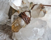 Natural Citrine Leather Wrapped Necklace