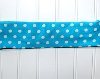 Adult Polka Polka Blue n' White Headband