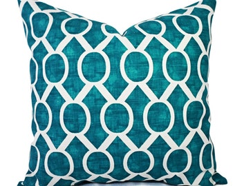Two Turquoise Pillow Covers - Turquoise and White Decorative Pillow Covers - Teal Pillows - Geometric Pillows - Pillow Cover 20 x 20 18 x 18