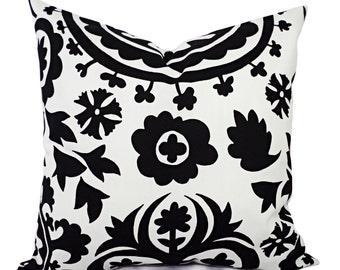 2 Black and White Suzani Decorative Throw Pillow Covers - 12x16 12x18 14x14 16x16 18x18 20x20 22x22 24x24 26x26 Pillow Shams